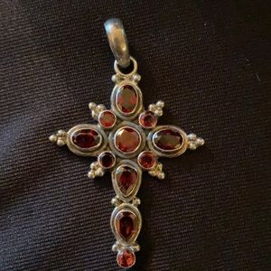 """2.5"""" Vintage Stainless Cross Red Stones Pendant"""
